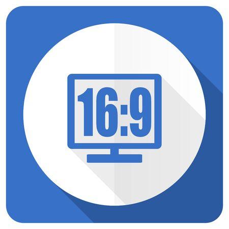 16 9 display: 16 9 display blue flat icon