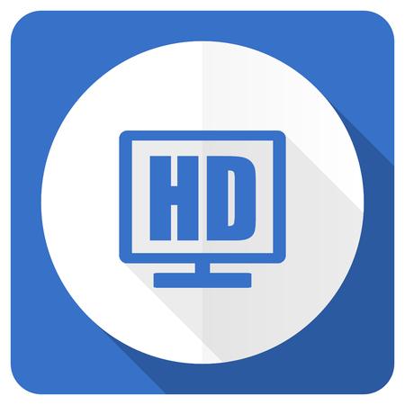 hd: hd display blue flat icon Stock Photo