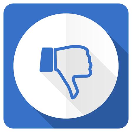 thumb down: dislike blue flat icon thumb down sign Stock Photo