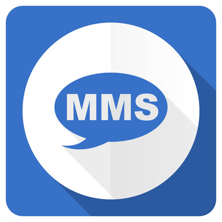 mms: mms blue flat icon message sign