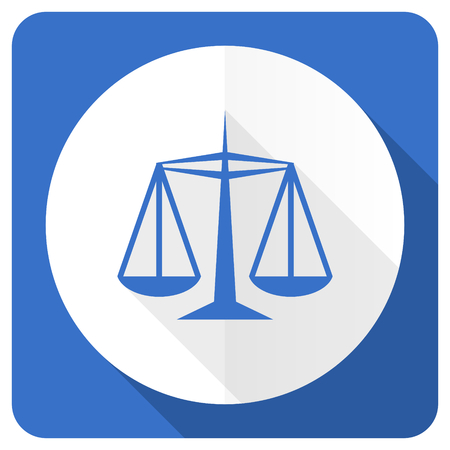 injustice: justice blue flat icon law sign Stock Photo