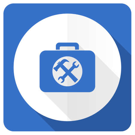 toolkit: toolkit blue flat icon service sign