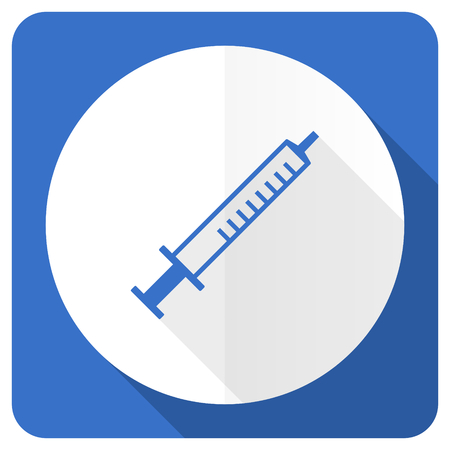 flu shot: medicine blue flat icon syringe sign Stock Photo