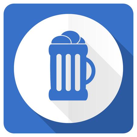 cereal bar: beer blue flat icon mug sign