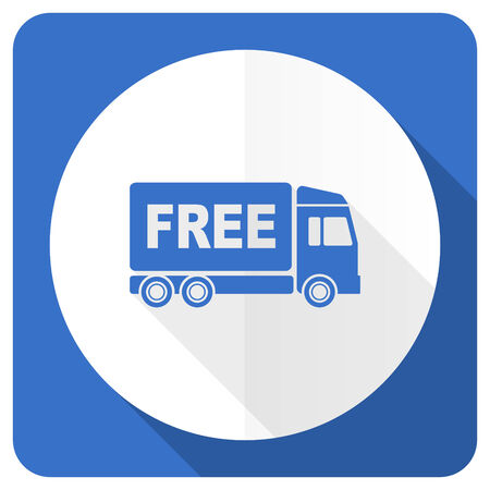 package sending: free delivery blue flat icon transport sign