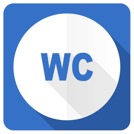 wc sign: toilet blue flat icon wc sign