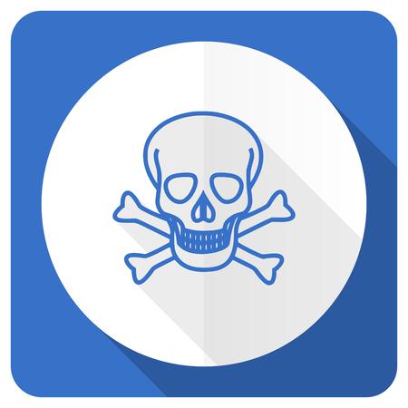 pirating: skull blue flat icon death sign