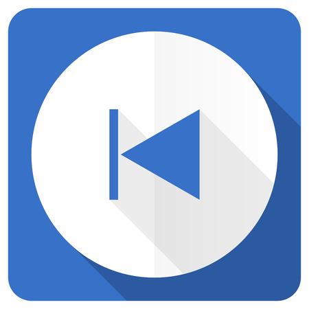 previous: previous blue flat icon Stock Photo