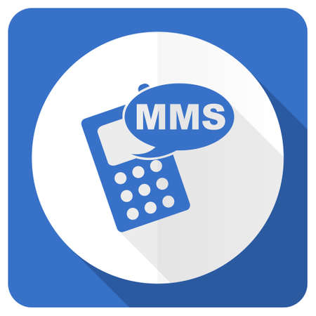 mms: mms blue flat icon phone sign Stock Photo