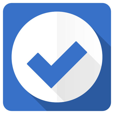 to accept: accept blue flat icon check sign