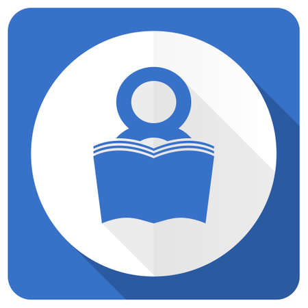 reading room: book blue flat icon reading room sign bookshop symbol