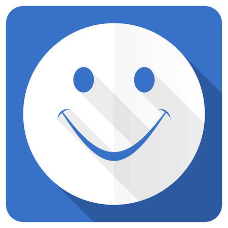 smile blue flat icon photo