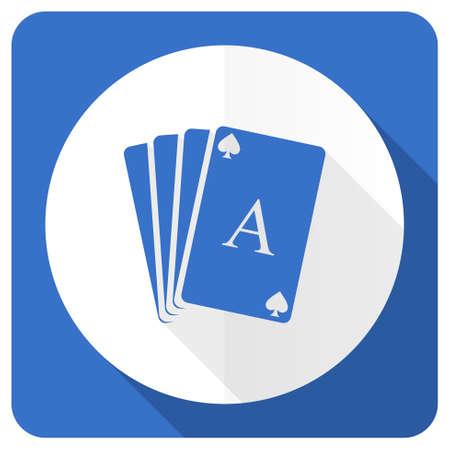 hazard sign: casino blue flat icon hazard sign