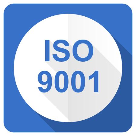 iso 9001 blue flat icon photo