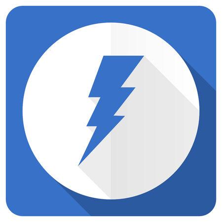 amperage: bolt blue flat icon flash sign