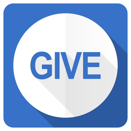 give: give blue flat icon Stock Photo
