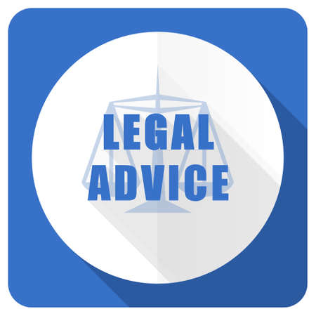 injustice: legal advice blue flat icon law sign Stock Photo