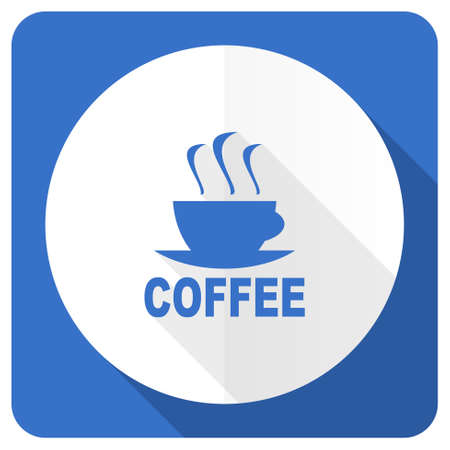 caffee: espresso blue flat icon hot cup of caffee sign Stock Photo