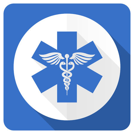 emergency blue flat icon hospital sign photo