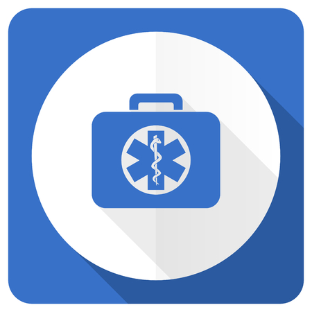emergency sign: rescue kit blue flat icon emergency sign