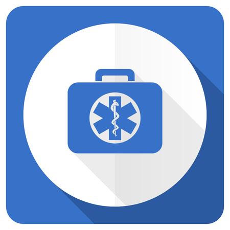 emergency kit: rescue kit blue flat icon emergency sign