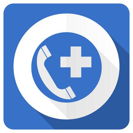 emergency call: emergency call blue flat icon