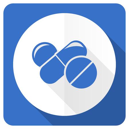 blue pills: medicine blue flat icon drugs symbol pills sign
