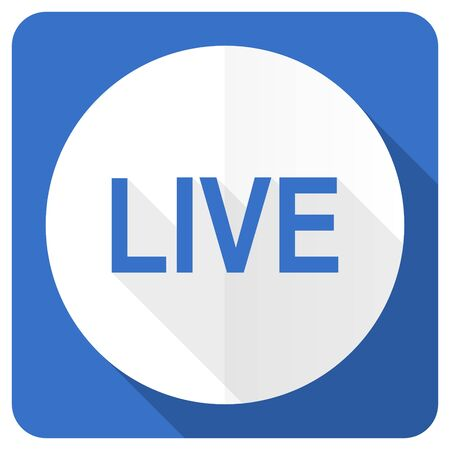 news cast: live blue flat icon