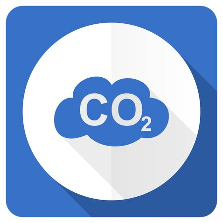 dioxide: carbon dioxide blue flat icon co2 sign
