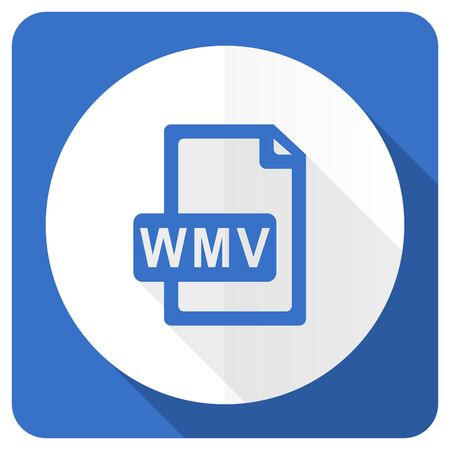 wmv: wmv file blue flat icon
