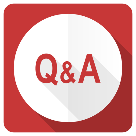 question and answer: question answer red flat icon