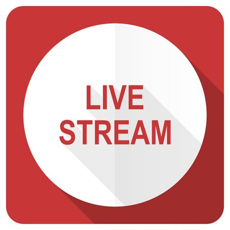 live stream: live stream red flat icon