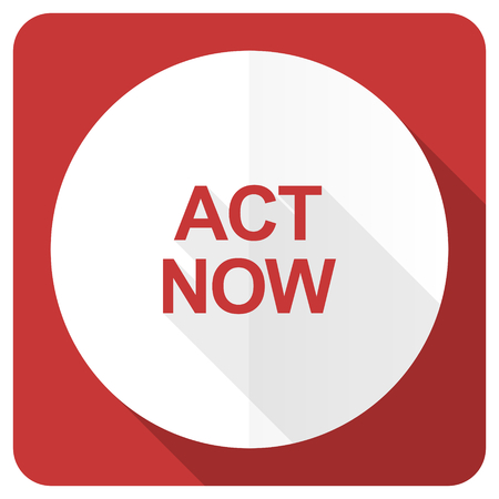 act: act now red flat icon