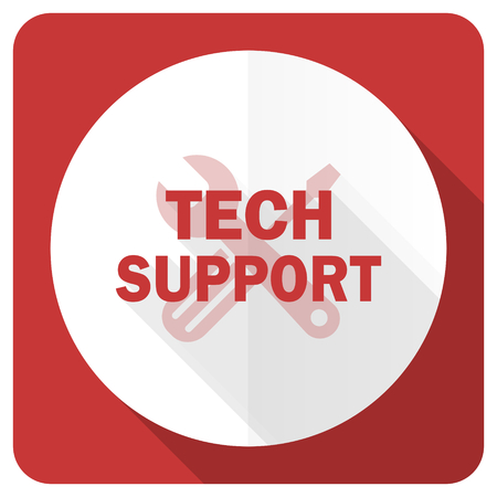 technical support: technical support red flat icon Stock Photo
