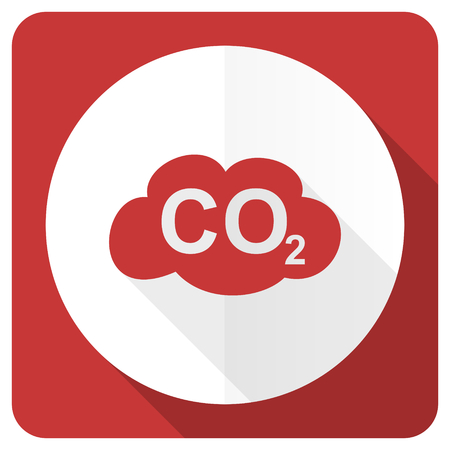 carbon emission: carbon dioxide red flat icon co2 sign Stock Photo