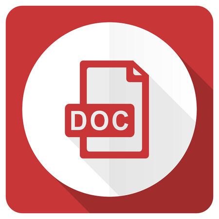 bibliography: doc file red flat icon