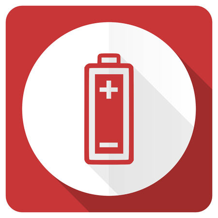 accuse: battery red flat icon power sign