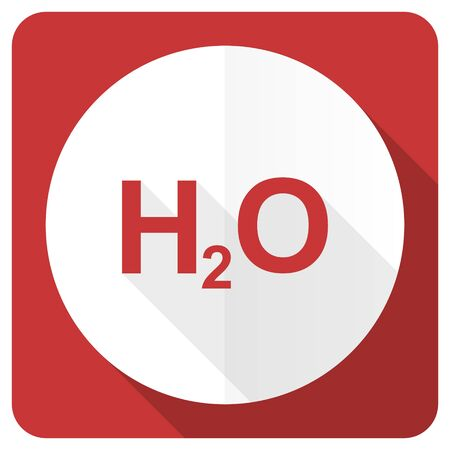 h2o: water red flat icon h2o sign Stock Photo