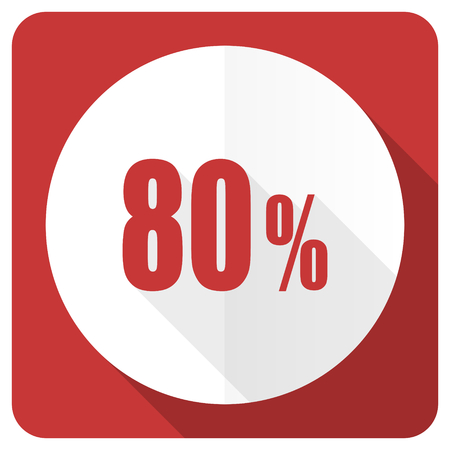 80: 80 percent red flat icon sale sign