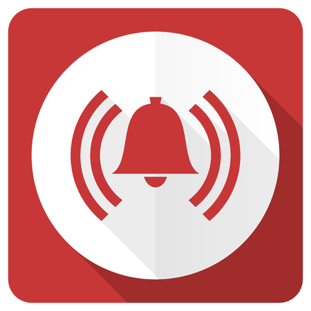 alerta: alarma roja icono plana se�al de alerta s�mbolo de la campana Foto de archivo