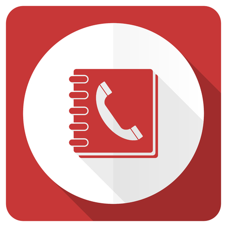phonebook: phonebook red flat icon Stock Photo