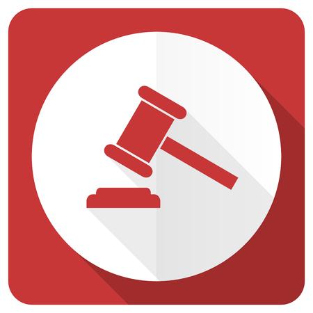 verdict: auction red flat icon court sign verdict symbol Stock Photo