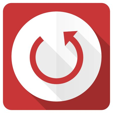 rotate: rotate red flat icon reload sign Stock Photo