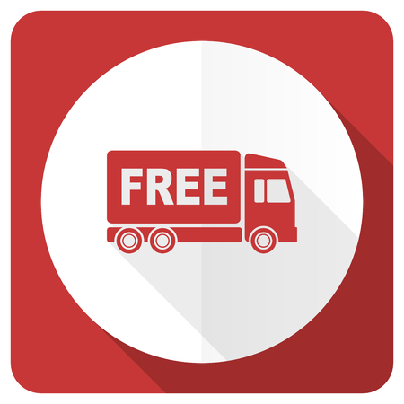 deliverance: free delivery red flat icon transport sign Stock Photo