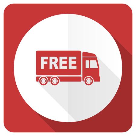 d�livrance: livraison gratuite ic�ne plat rouge signe de transport