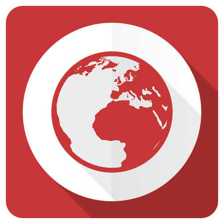 parallels: earth red flat icon world sign
