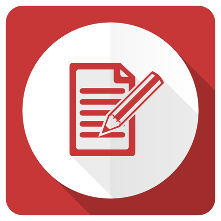 write: subscribe red flat icon write sign