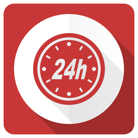 24h: 24h red flat icon Stock Photo