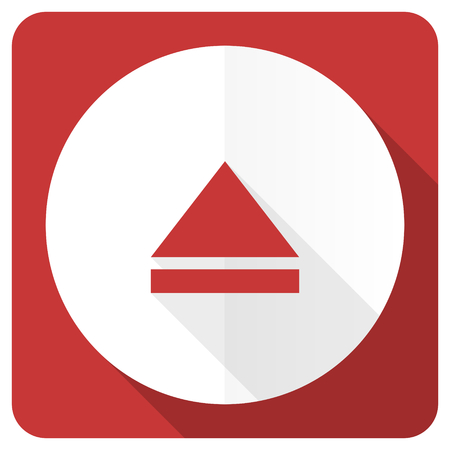 eject: eject red flat icon open sign Stock Photo