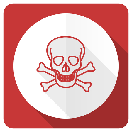 pirating: skull red flat icon death sign